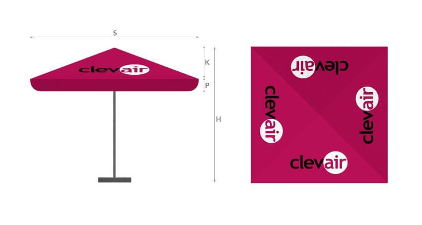 legenda parasol reklamowy 4p - - producent reklam stelażowych Clevair