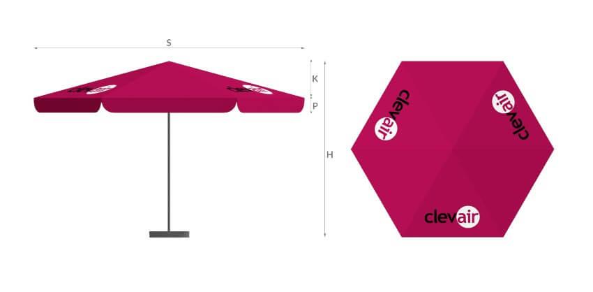 legenda parasol6p - - producent reklam stelażowych Clevair