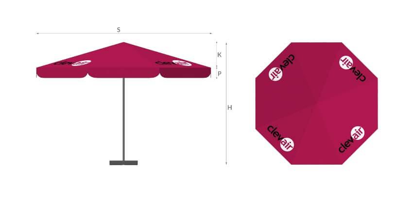 legenda parasol reklamowy 8p - producent reklam stelażowych Clevair